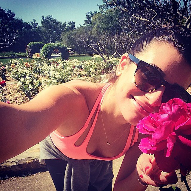 Lea Michele stopped to smell flowers during her hike. Source: Instagram user msleamichele