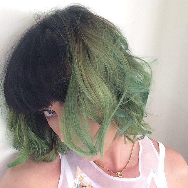 "Katy Perry debuted her ""slime green"" hair for Spring. Source: Instagram user katyperry"
