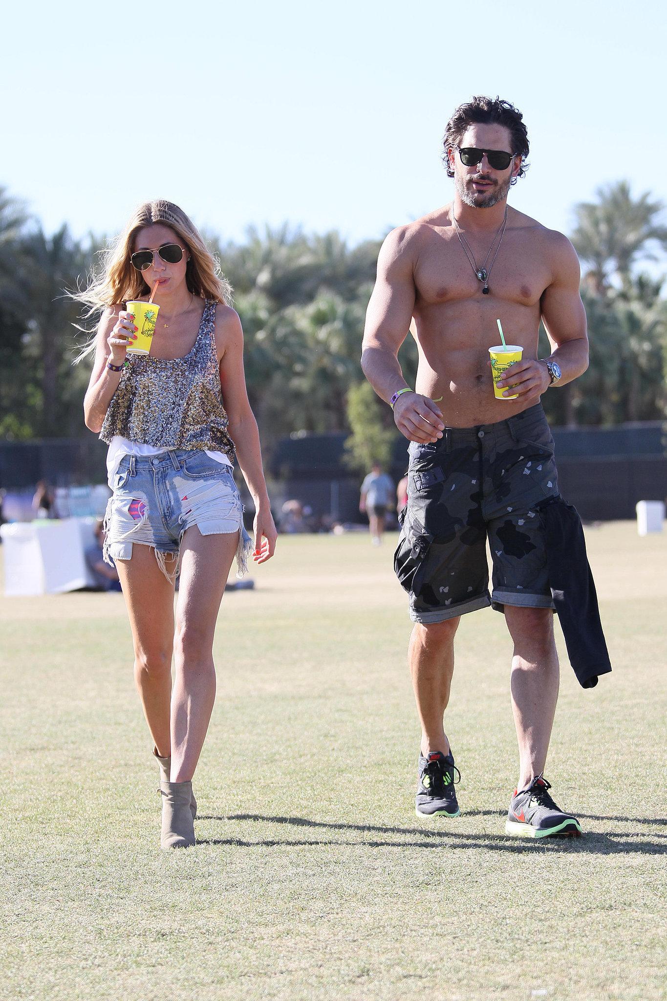 Joe Manganiello went shirtless in the desert at weekend two of Coachella 2012.