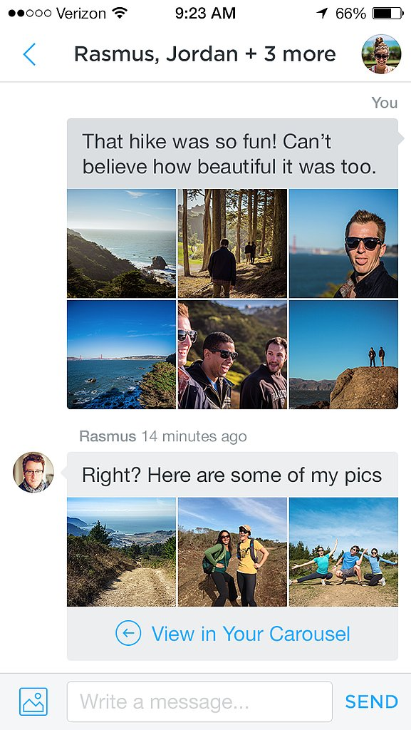 Share photos to multiple friends at once.