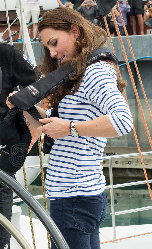 Kate tried to figure out how to put on her own harness before competing in a sailing race in Auckland on April 11.