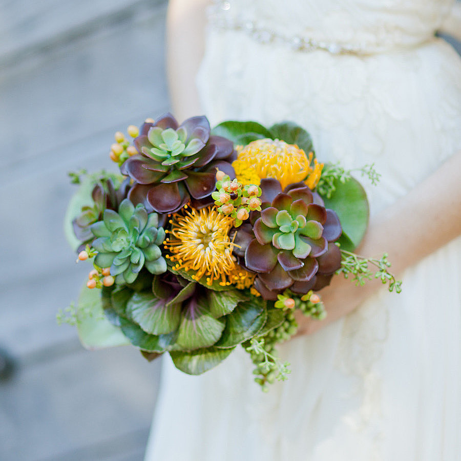 "You don't have to be ""alternative"" or pinching pennies to want a nonfloral bouquet at your wedding. From feathers to ferns, there are so many chic options that are not only gorgeous, but also one of a kind. Check out all of these stunning, outside-the-box bouquet options from POPSUGAR Home. They're fit for both the bride and the bridal party. Photo by  Andi Mans via Style Me Pretty"