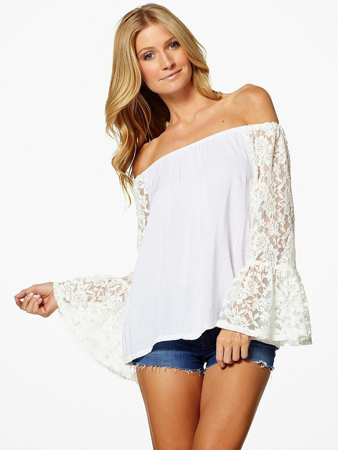 Elan White Off-the-Shoulder Lace Sleeve Top