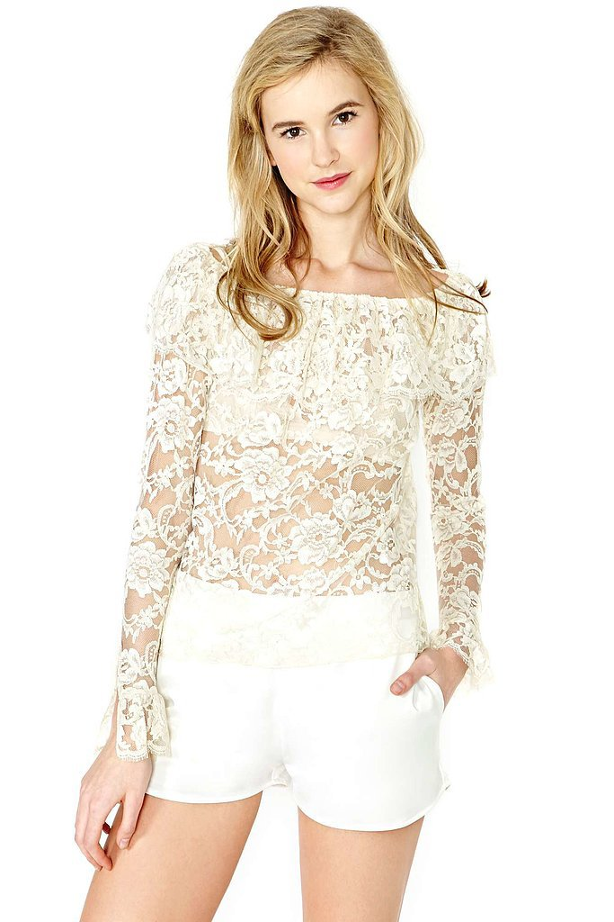 Calvin Klein White Lace Long-Sleeved Off-the-Shoulder Top