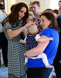 Kate attempted to soothe a crying baby during a playdate in Wellington, New Zealand, on April 9.