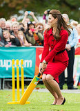 Kate narrowly avoided getting hit by a ball while playing cricket in Christchurch, New Zealand, on April 14.