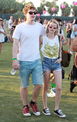 Emma Roberts and fiancé Evan Peters stayed close.