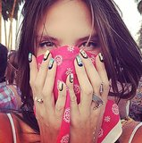 Alessandra Ambrosio hid her beautiful face with a red bandanna. Source: Instagram user alesandraambrosio