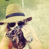 Hilary Duff covered her face with a scarf. Source: Instagram user hilaryduff