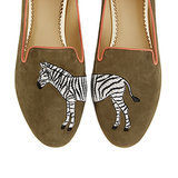 Zebra Suede Smoking Slippers ($138)