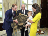 Royal Family Arrives in Australia, Prince George Receives Oversize Wombat Toy