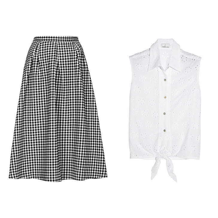Topshop Gingham Calf Midi Skirt ($96), Miguelina Nelline broderie anglaise cotton top ($295)