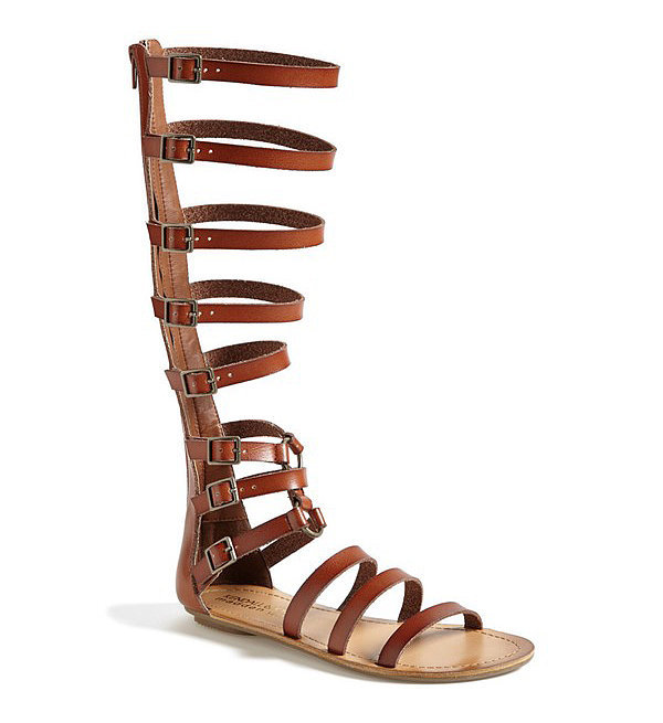 CHLOE Bright red leather multi-strap gladiator sandals NEW