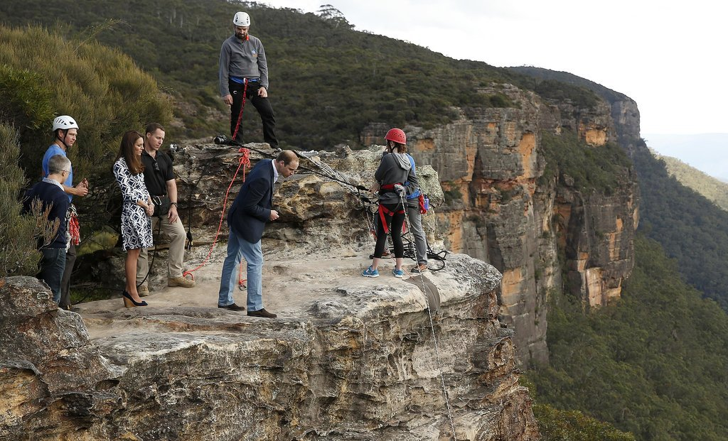 William checked out the view from a cliff in Australia on April 17, but Kate kept her distance from the edge.