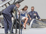 Kate Climbs Aboard Fighter Jet with Style - in Towering Heels