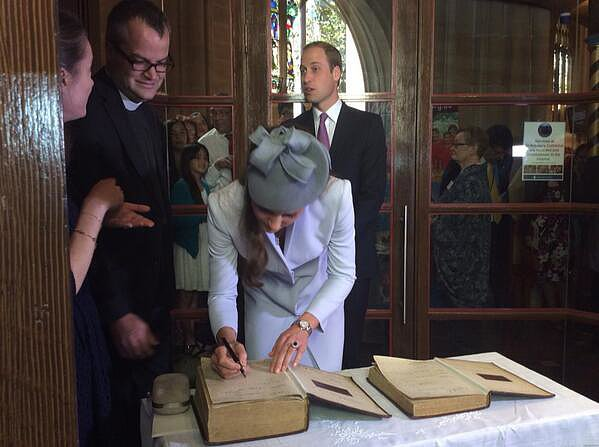 Kate signed the First Fleet Bible during Easter Sunday. Source: Twitter user RE_DailyMail