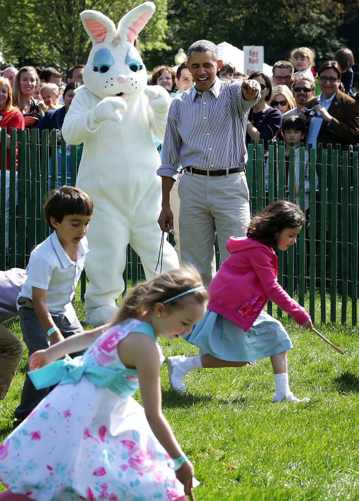 He and the Easter bunny were cheering buddies.