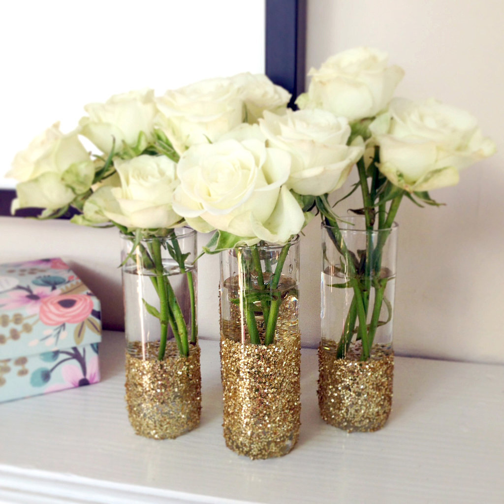 diy glitter shot glass vases popsugar smart living. Black Bedroom Furniture Sets. Home Design Ideas