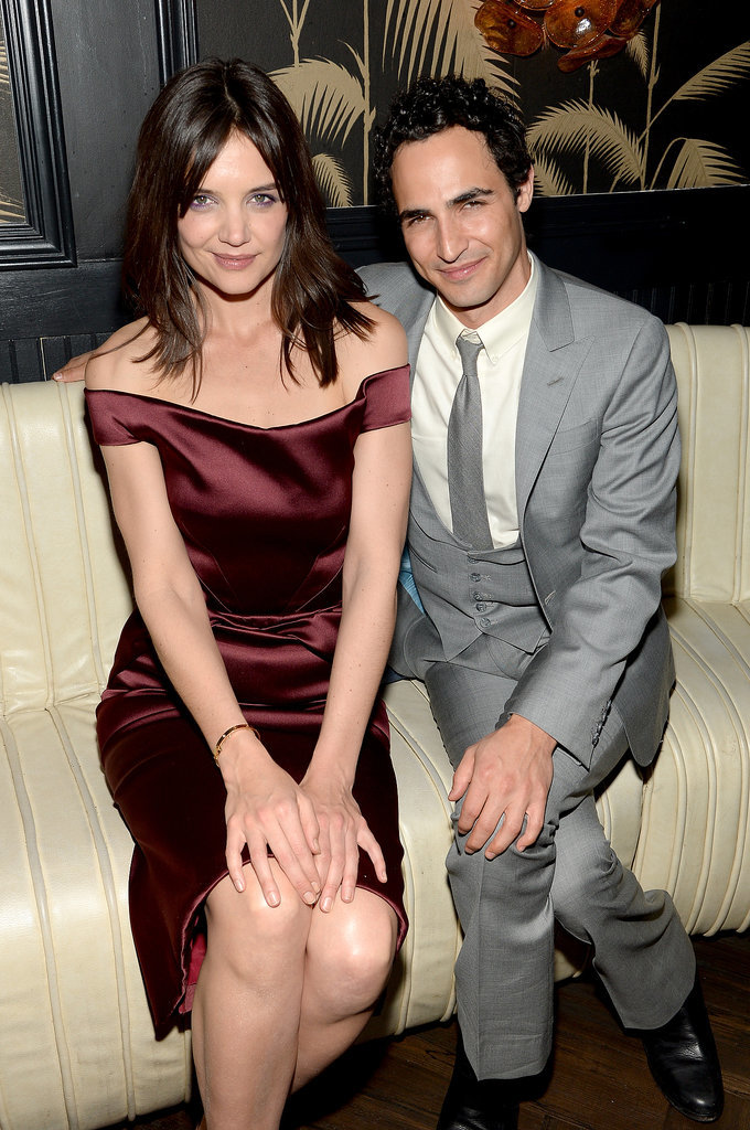 Zac Posen met up with Katie Holmes at the afterparty for her film, Miss Meadows.