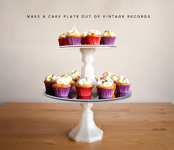 Old-Records Cupcake Holder