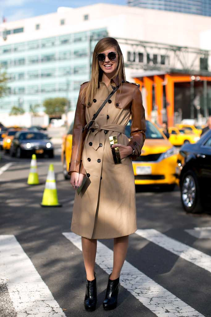 There's a reason the trench is a go-to piece in the rain. It lends polish and coverage and goes with just about any footwear in our closets. Try it cinched, like so, and add ankle booties to dress it up.