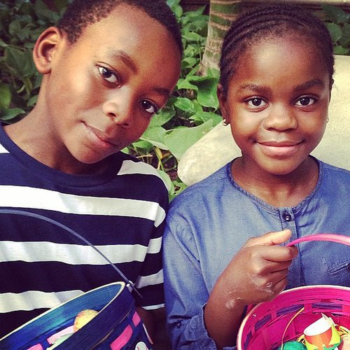 Madonna's little cuties, David and Mercy, had a very happy Easter. Source: Instagram user madonna