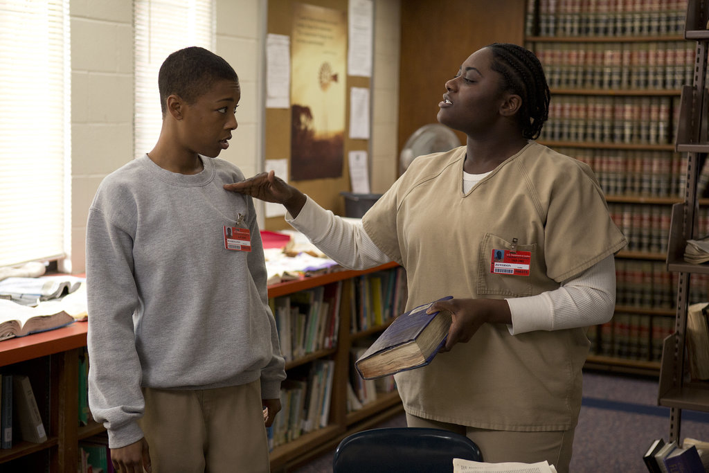 Taystee (Danielle Brooks) points a finger at Poussey (Samira Wiley). Source: Netflix