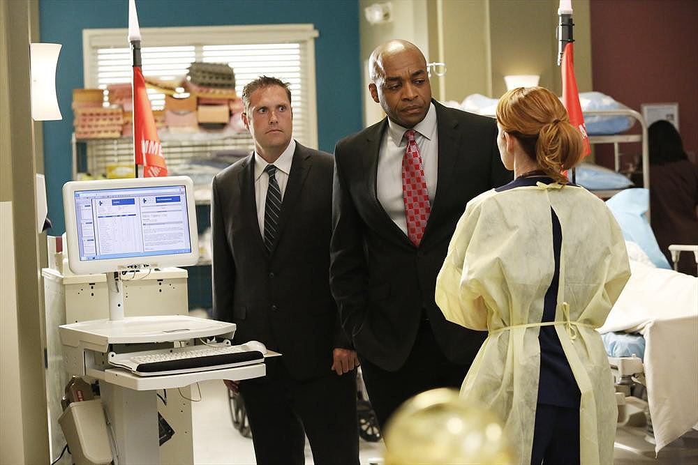 Rick Worthy and Sarah Drew on Grey's Anatomy.