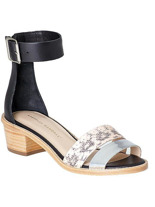 Loeffler Randall Henry black, blue, and snakeskin block-heel flats ($220, originally $295)