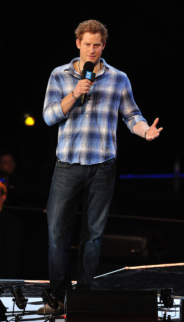 In March 2014, Harry wore a plaid shirt and jeans at We Day in London.