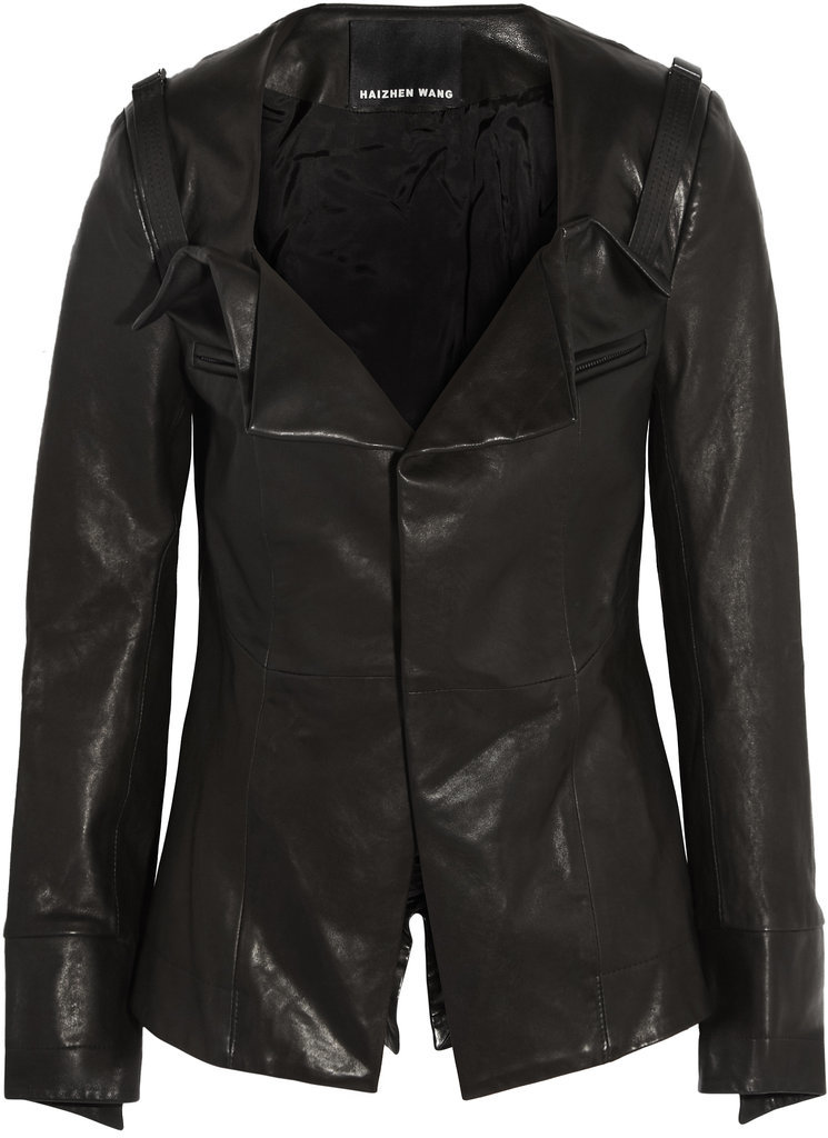 Haizhen Wang Black Leather Jacket