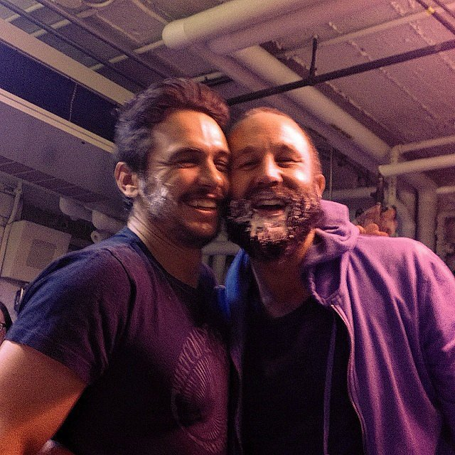 James Franco and Chris O'Dowd were covered in cake. Source: Instagram user jamesfrancotv