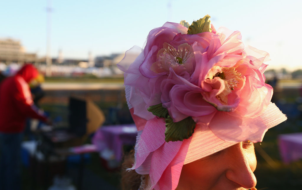 A young woman went with a sweet, pink confection at morning training in 2014.