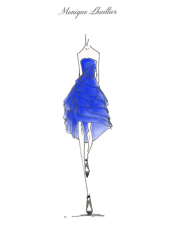 Monique Lhuillier Sharpen the Edge Dress Sketch