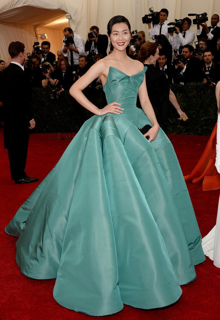 Liu Wen in Zac Posen