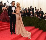 Ryan Reynolds and Blake Lively stopped on a landing.