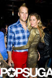 Gisele hugged Tom, who was dressed in an interesting outfit.