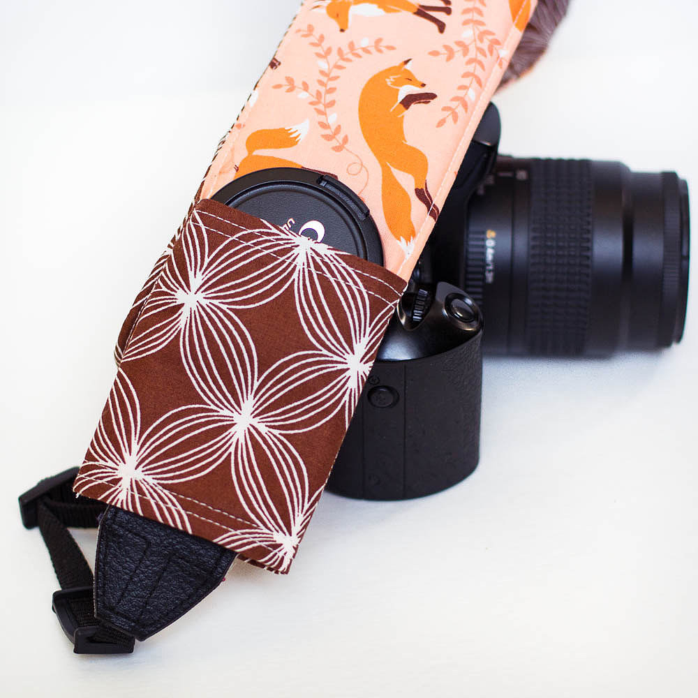 Coral Foxes and Brown Circles Camera Strap