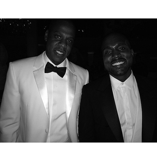"She snapped a photo of Kanye with Jay Z and captioned it ""#Throne."" Source: Instagram user kimkardashian"