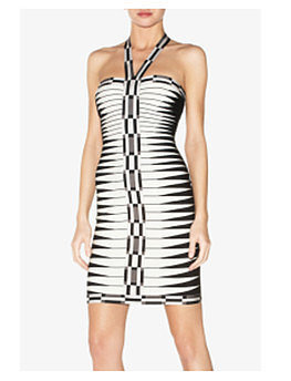 Black & White Halter Bandage Dress
