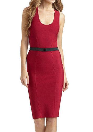 Red Sleeveless Bandage Dress With Belt