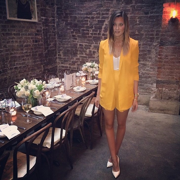 It doesn't have to be a dress — opt for a bright short suit like this for a friend's nuptials. While it might not be appropriate for a formal affair, it's a perfect alternative to the cocktail dress.  Source: Instagram user weworewhat