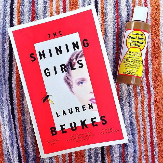 I shared this photo of my beach essentials: Maui Babe and the very creepy, very good thriller The Shining Girls by Lauren Beukes.