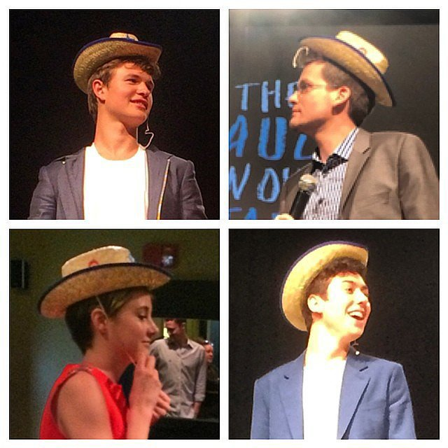 Who wore the hat best @thefaultmovie's Dallas stop? @anselelgort @johngreenwritesbooks #shailenewoodley or @natandalex? That's a wrap on #tfiostour for us! Thanks for following! -@mollygoodson