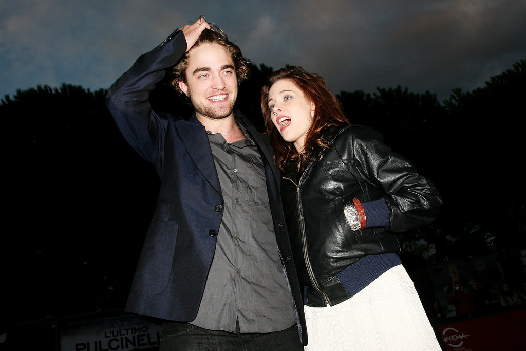 Rob was all smiles with Kristen Stewart by his side at the October 2008 Rome premiere of Twilight.
