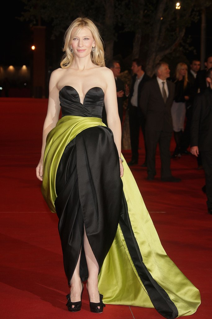Cate Blanchett in a Black Tulip Gown at the 2007 Elizabeth: The Golden Age Premiere in Rome