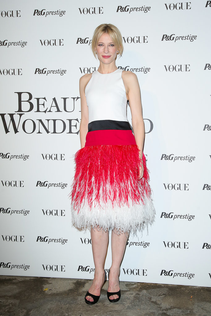 Cate Blanchett in Feathered Prabal Gurung at the Beauty in Wonderland Exhibition