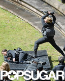 Josh and Jennifer filmed a dramatic scene.