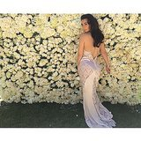 Kim Kardashian enjoyed a wall of roses in her backyard. Source: Instagram user kimkardashian