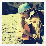 Hilary Duff and her son, Luca, hit the beach. Source: Instagram user hilaryduff